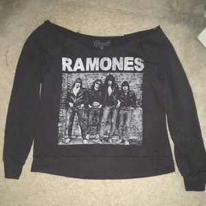black, long sleeve shoulder cropped sweater
